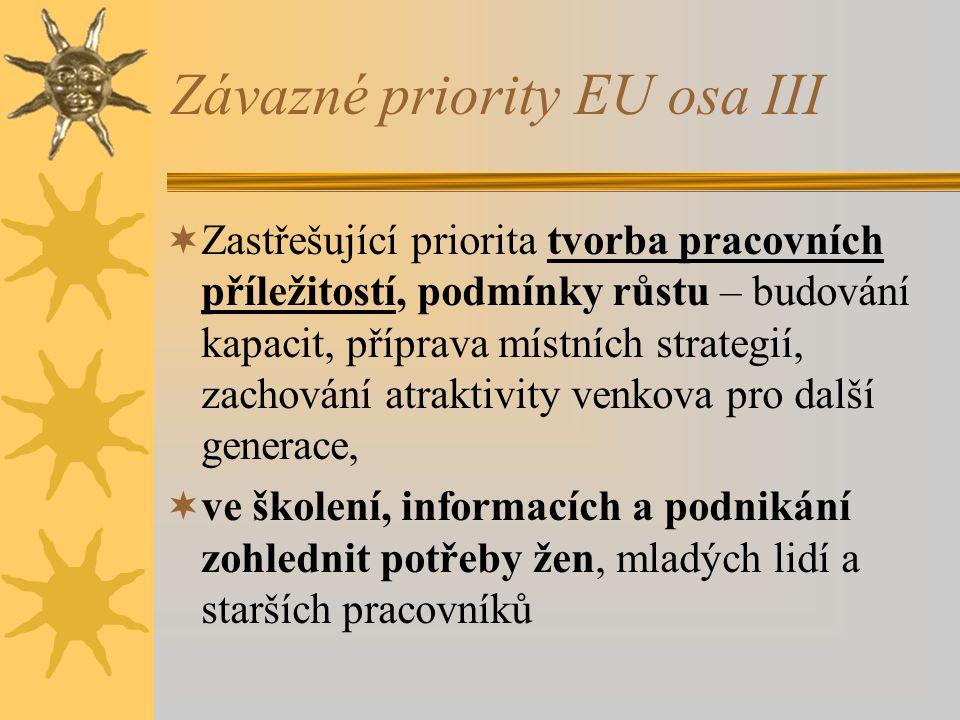 Závazné priority EU osa III  Zastřešující priorita tvorba pracovních příležitostí, podmínky růstu – budování kapacit, příprava místních strategií, zachování atraktivity venkova pro další generace,  ve školení, informacích a podnikání zohlednit potřeby žen, mladých lidí a starších pracovníků