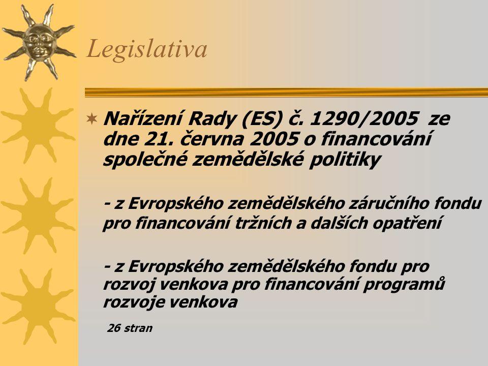 Legislativa  Rozhodnutí Rady o strategických směrech Společenství pro rozvoj venkova (programové období 2007-2013) Rozhodnutí Rady o strategických směrech Společenství pro rozvoj venkova (programové období 2007-2013) vydané 16.2.2006 – 26 stran Strategické směry Společenství stanoví oblasti důležité pro naplňování priorit Společenství, zejména ve vztahu k cílům udržitelnosti a k Lisabonské strategii pro hospodářský růst a zaměstnanost