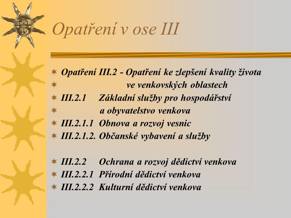 Opatření v ose III  Opatření III.2 - Opatření ke zlepšení kvality života  ve venkovských oblastech  III.2.1 Základní služby pro hospodářství  a obyvatelstvo venkova  III.2.1.1 Obnova a rozvoj vesnic  III.2.1.2.