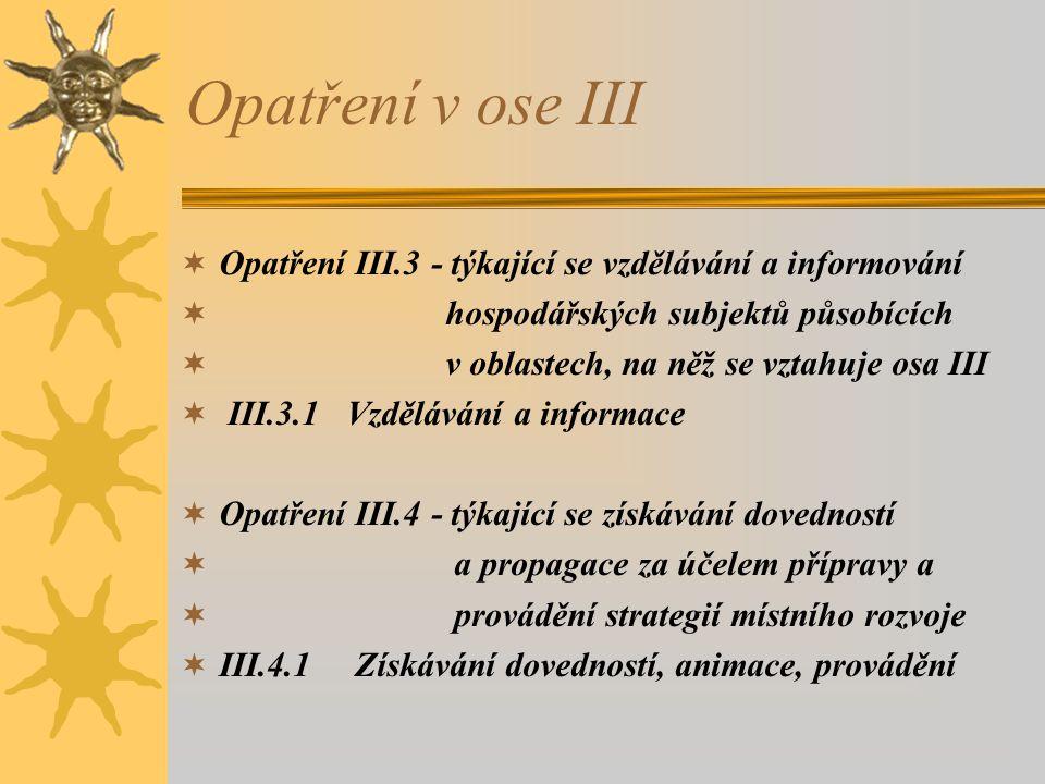 Opatření v ose III  Opatření III.3 - týkající se vzdělávání a informování  hospodářských subjektů působících  v oblastech, na něž se vztahuje osa III  III.3.1 Vzdělávání a informace  Opatření III.4 - týkající se získávání dovedností  a propagace za účelem přípravy a  provádění strategií místního rozvoje  III.4.1 Získávání dovedností, animace, provádění
