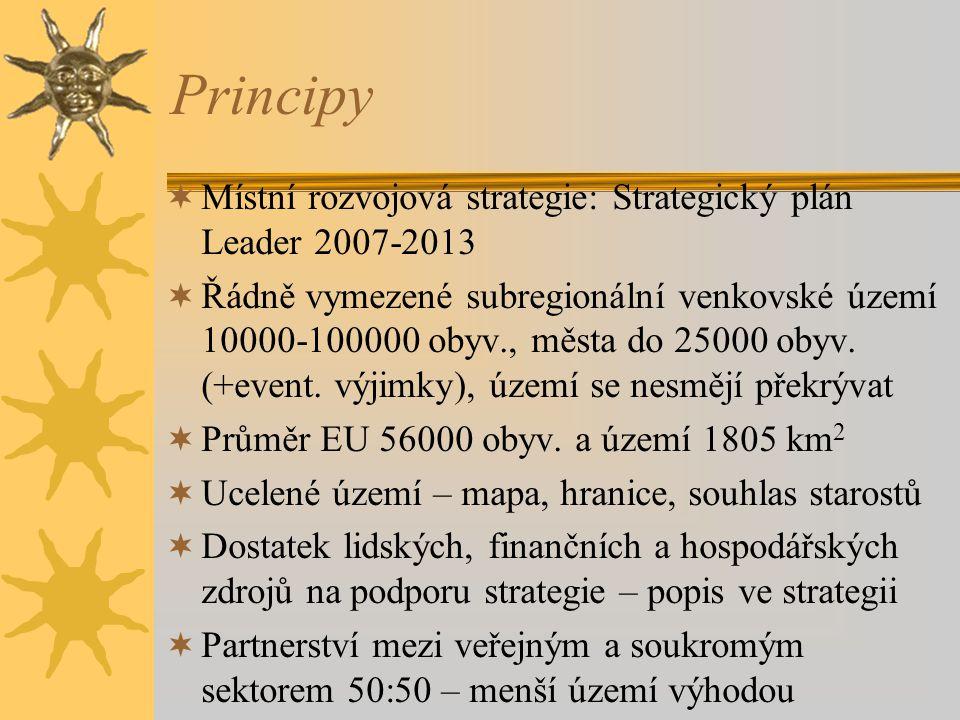 Principy  Místní rozvojová strategie: Strategický plán Leader 2007-2013  Řádně vymezené subregionální venkovské území 10000-100000 obyv., města do 25000 obyv.