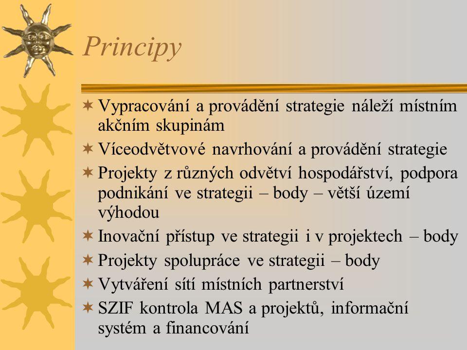 Principy  Vypracování a provádění strategie náleží místním akčním skupinám  Víceodvětvové navrhování a provádění strategie  Projekty z různých odvětví hospodářství, podpora podnikání ve strategii – body – větší území výhodou  Inovační přístup ve strategii i v projektech – body  Projekty spolupráce ve strategii – body  Vytváření sítí místních partnerství  SZIF kontrola MAS a projektů, informační systém a financování