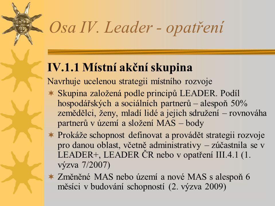 Osa IV. Leader - opatření IV.1.1 Místní akční skupina Navrhuje ucelenou strategii místního rozvoje  Skupina založená podle principů LEADER. Podíl hos