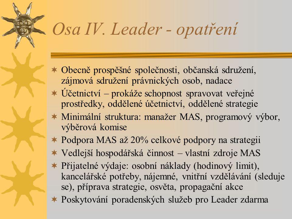 Osa IV. Leader - opatření  Obecně prospěšné společnosti, občanská sdružení, zájmová sdružení právnických osob, nadace  Účetnictví – prokáže schopnos