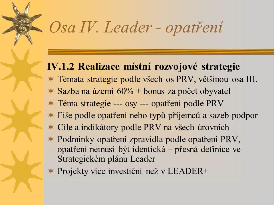Osa IV. Leader - opatření IV.1.2 Realizace místní rozvojové strategie  Témata strategie podle všech os PRV, většinou osa III.  Sazba na území 60% +