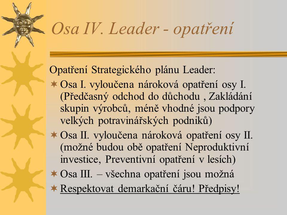 Osa IV. Leader - opatření Opatření Strategického plánu Leader:  Osa I. vyloučena nároková opatření osy I. (Předčasný odchod do důchodu, Zakládání sku