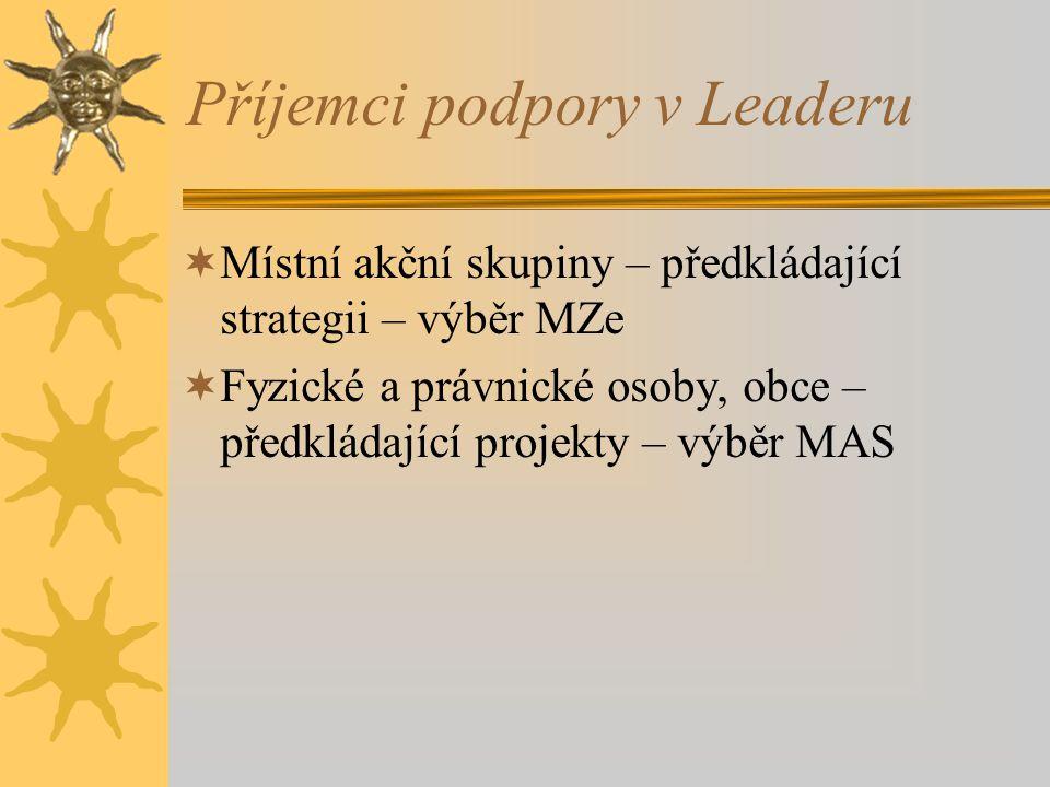 Příjemci podpory v Leaderu  Místní akční skupiny – předkládající strategii – výběr MZe  Fyzické a právnické osoby, obce – předkládající projekty – v