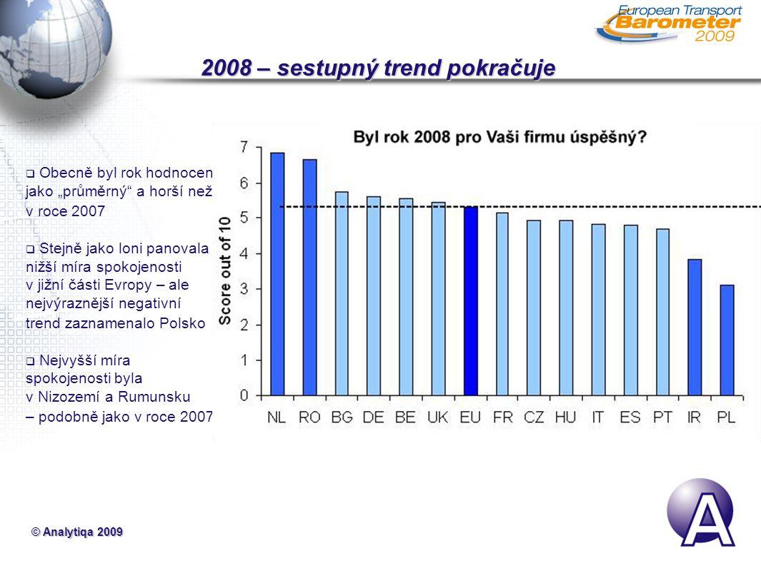 """© Analytiqa 2009 2008 – sestupný trend pokračuje  Obecně byl rok hodnocen jako """"průměrný a horší než v roce 2007  Stejně jako loni panovala nižší míra spokojenosti v jižní části Evropy – ale nejvýraznější negativní trend zaznamenalo Polsko  Nejvyšší míra spokojenosti byla v Nizozemí a Rumunsku – podobně jako v roce 2007"""