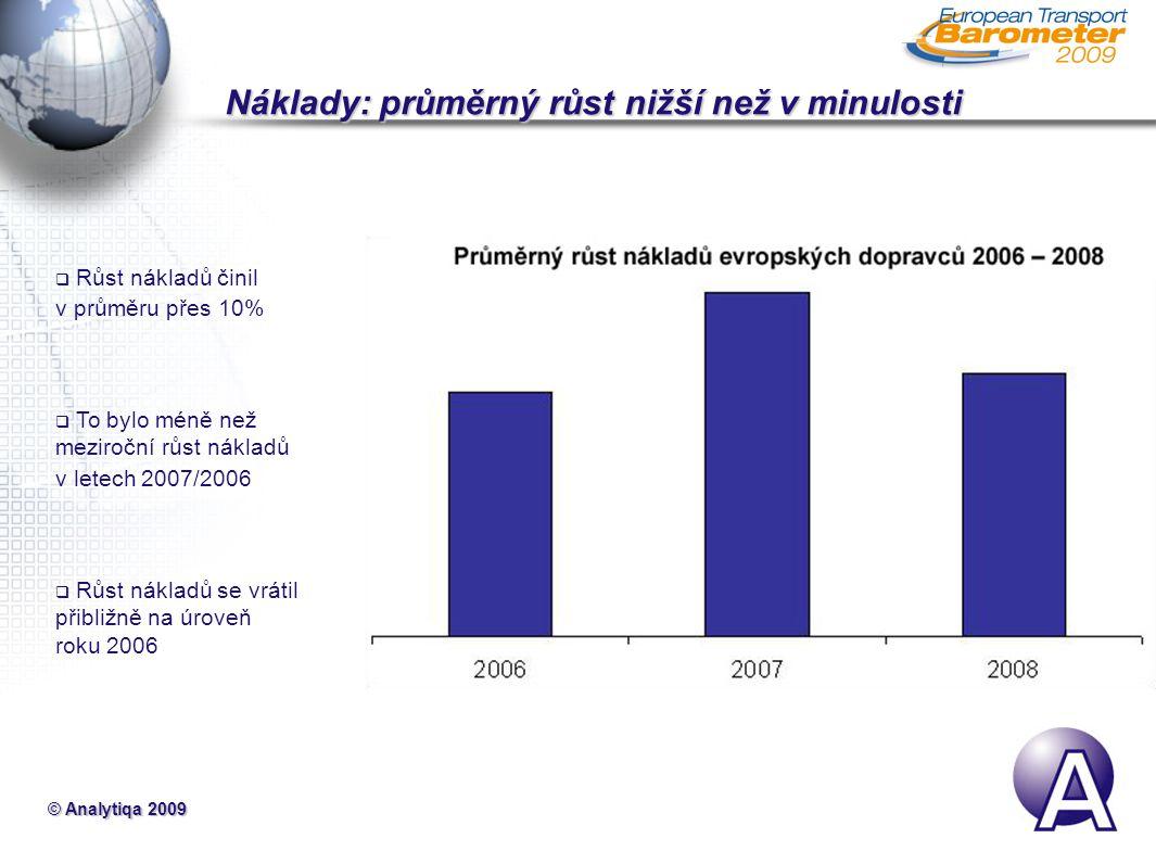 © Analytiqa 2009 Náklady: průměrný růst nižší než v minulosti Náklady: průměrný růst nižší než v minulosti  Růst nákladů činil v průměru přes 10%  To bylo méně než meziroční růst nákladů v letech 2007/2006  Růst nákladů se vrátil přibližně na úroveň roku 2006