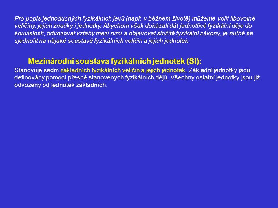 Mezinárodní soustava fyzikálních jednotek (SI): Stanovuje sedm základních fyzikálních veličin a jejich jednotek. Základní jednotky jsou definovány pom