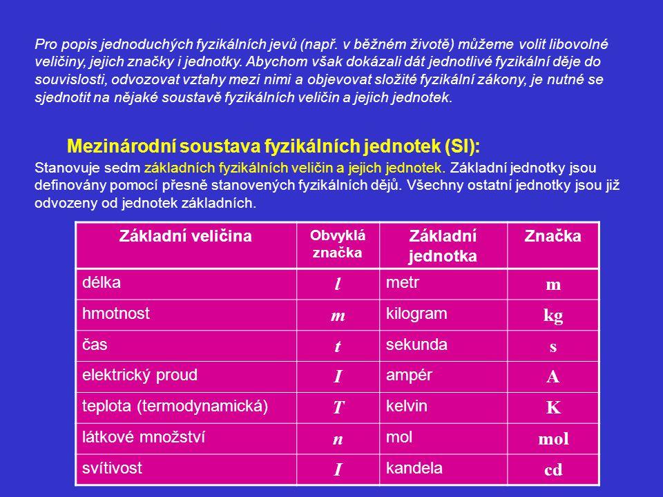 Pro popis jednoduchých fyzikálních jevů (např. v běžném životě) můžeme volit libovolné veličiny, jejich značky i jednotky. Abychom však dokázali dát j