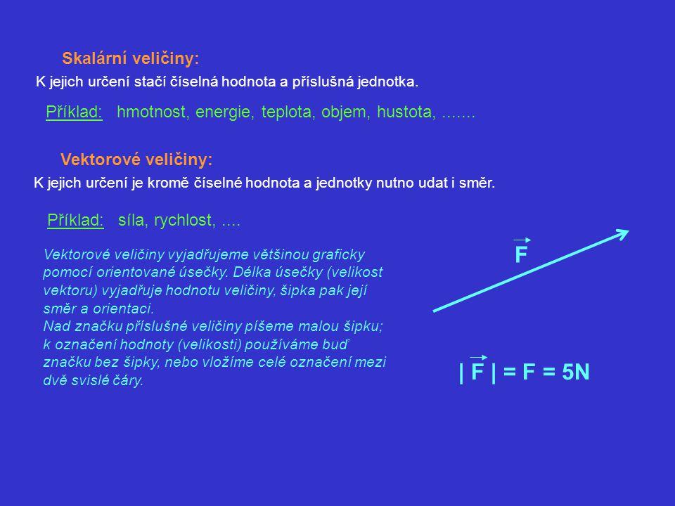 Skalární veličiny: K jejich určení stačí číselná hodnota a příslušná jednotka. Příklad: hmotnost, energie, teplota, objem, hustota,....... Vektorové v