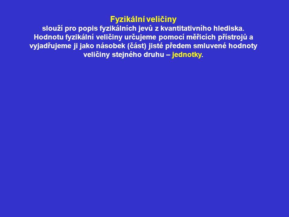 Fyzikální veličiny slouží pro popis fyzikálních jevů z kvantitativního hlediska. Hodnotu fyzikální veličiny určujeme pomocí měřicích přístrojů a vyjad