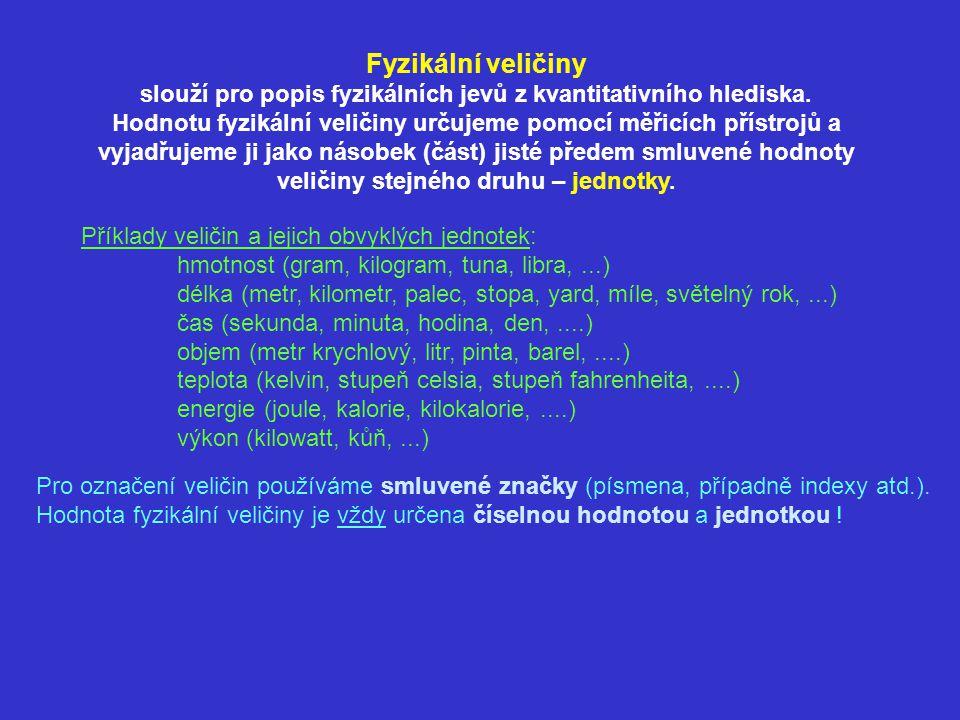 Příklady veličin a jejich obvyklých jednotek: hmotnost (gram, kilogram, tuna, libra,...) délka (metr, kilometr, palec, stopa, yard, míle, světelný rok,...) čas (sekunda, minuta, hodina, den,....) objem (metr krychlový, litr, pinta, barel,....) teplota (kelvin, stupeň celsia, stupeň fahrenheita,....) energie (joule, kalorie, kilokalorie,....) výkon (kilowatt, kůň,...) Pro označení veličin používáme smluvené značky (písmena, případně indexy atd.).