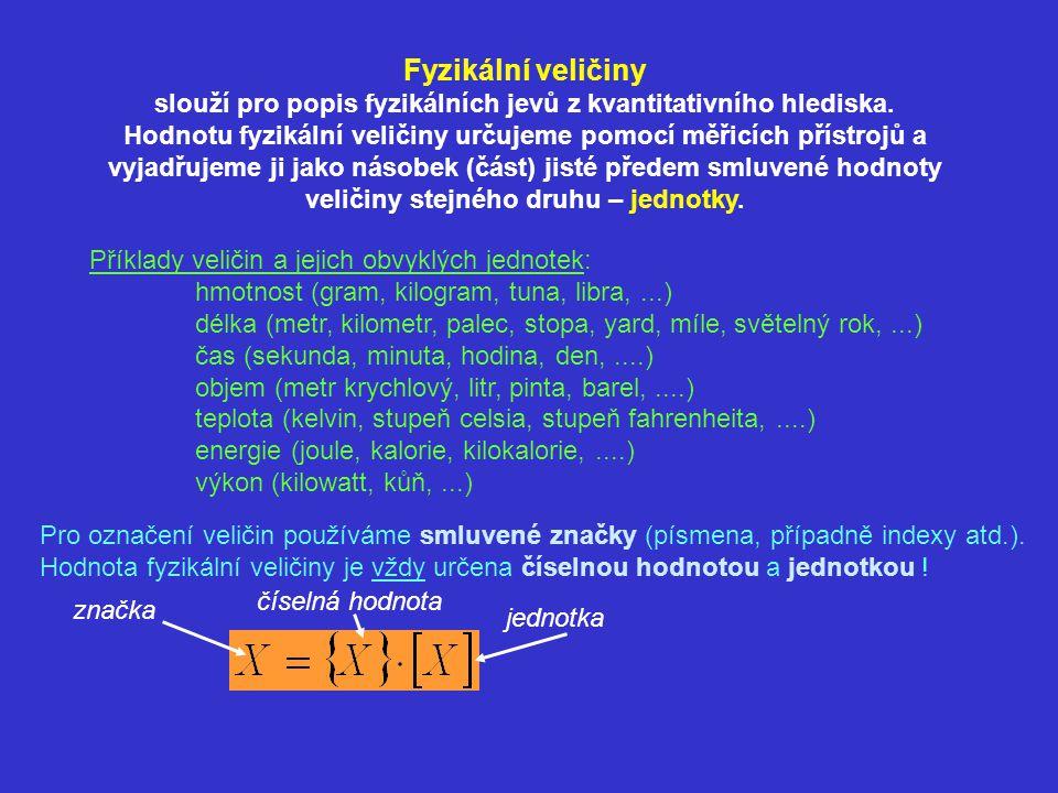 Příklady veličin a jejich obvyklých jednotek: hmotnost (gram, kilogram, tuna, libra,...) délka (metr, kilometr, palec, stopa, yard, míle, světelný rok