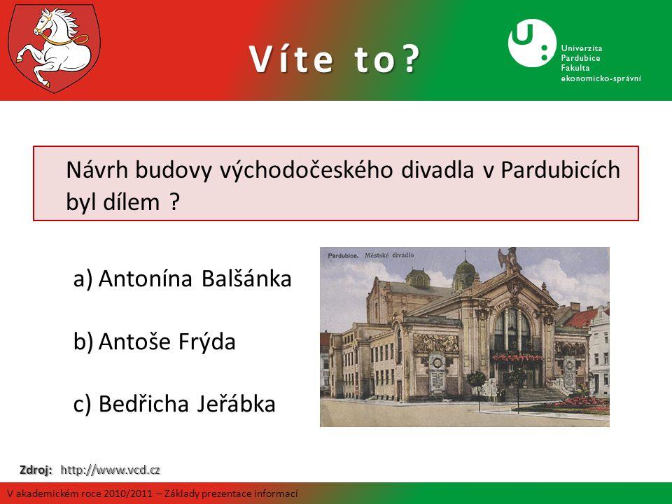 Návrh budovy východočeského divadla v Pardubicích byl dílem ? a)Antonína Balšánka b)Antoše Frýda c)Bedřicha Jeřábka Zdroj: http://www.vcd.cz Víte to?