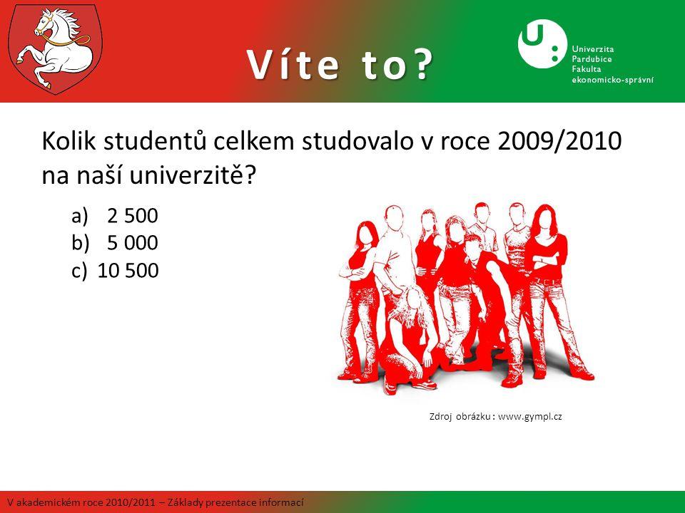 Kolik studentů celkem studovalo v roce 2009/2010 na naší univerzitě? Víte to? V akademickém roce 2010/2011 – Základy prezentace informací a) 2 500 b)