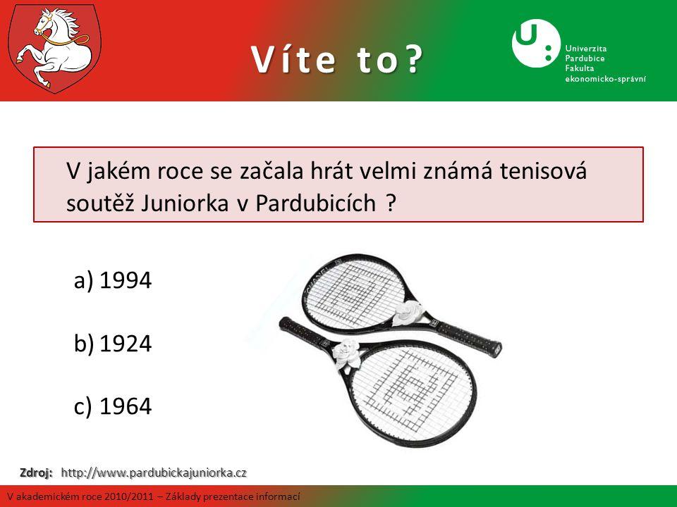 V jakém roce se začala hrát velmi známá tenisová soutěž Juniorka v Pardubicích ? a)1994 b)1924 c)1964 Zdroj: http://www.pardubickajuniorka.cz Víte to?