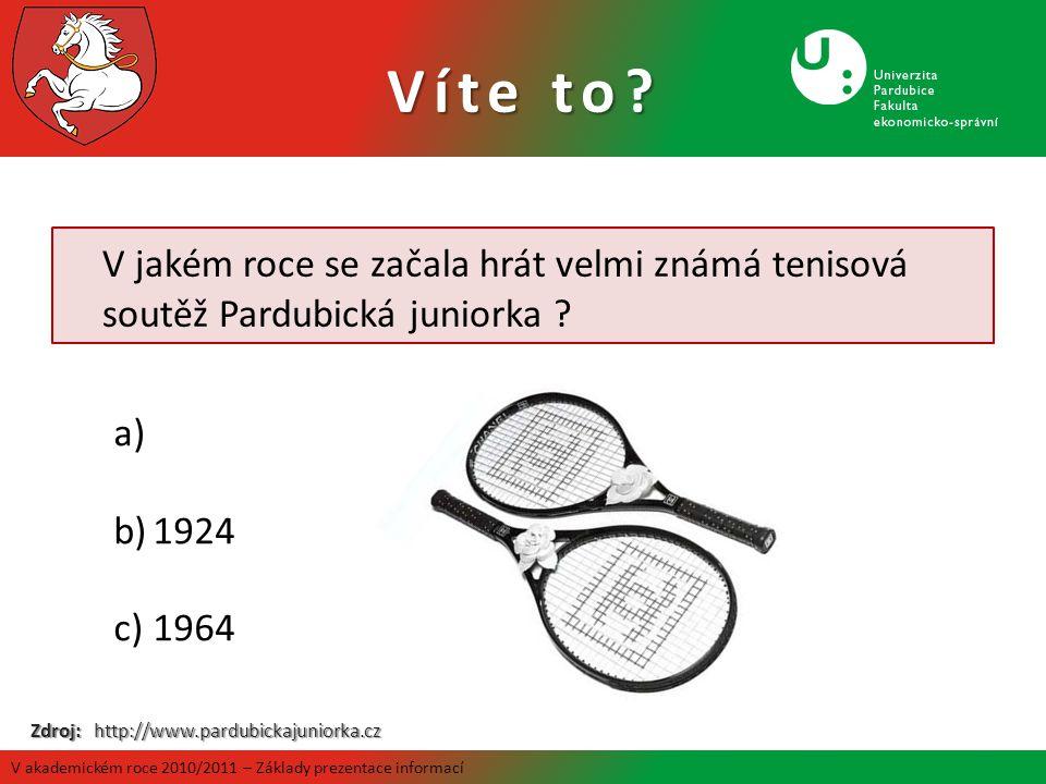 V jakém roce se začala hrát velmi známá tenisová soutěž Pardubická juniorka ? a) b)1924 c)1964 Zdroj: http://www.pardubickajuniorka.cz Víte to? V akad