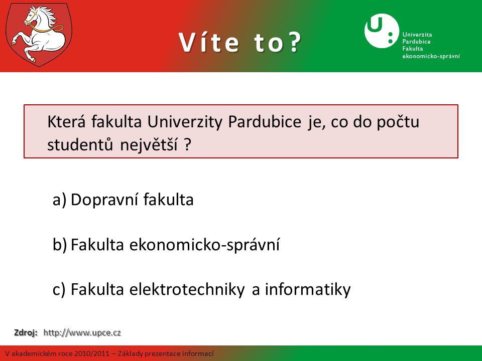 Která fakulta Univerzity Pardubice je, co do počtu studentů největší ? a)Dopravní fakulta b)Fakulta ekonomicko-správní c)Fakulta elektrotechniky a inf