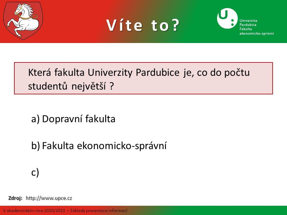 Která fakulta Univerzity Pardubice je, co do počtu studentů největší ? a)Dopravní fakulta b)Fakulta ekonomicko-správní c) - 2791 studentů k 31.10.2009