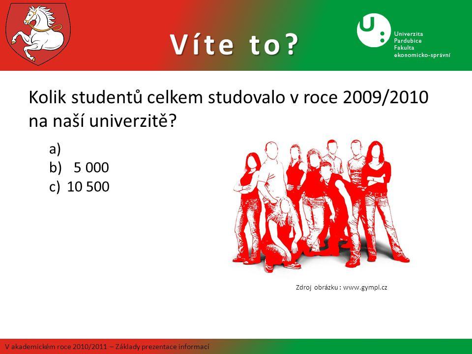 Kolik studentů celkem studovalo v roce 2009/2010 na naší univerzitě? Víte to? V akademickém roce 2010/2011 – Základy prezentace informací a) b) 5 000