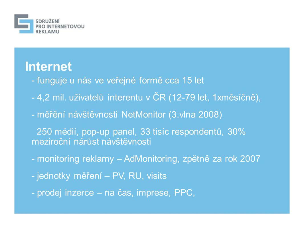 Internet - funguje u nás ve veřejné formě cca 15 let - 4,2 mil.