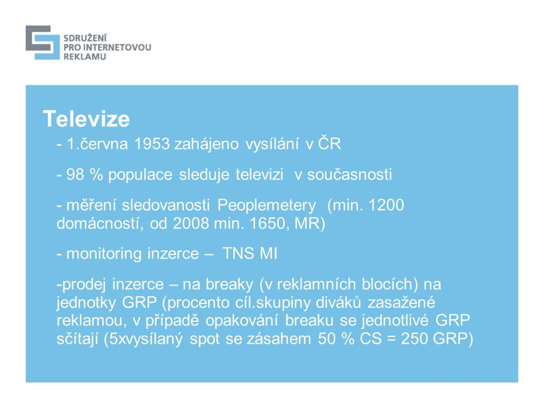 Televize - 1.června 1953 zahájeno vysílání v ČR - 98 % populace sleduje televizi v současnosti - měření sledovanosti Peoplemetery (min.