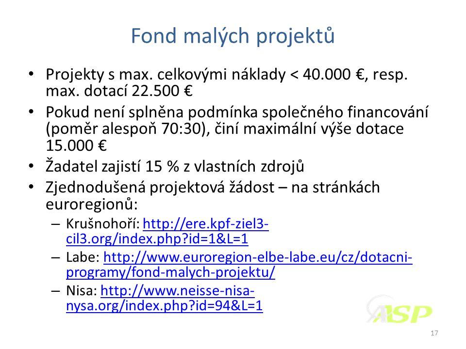 Fond malých projektů • Projekty s max. celkovými náklady < 40.000 €, resp.