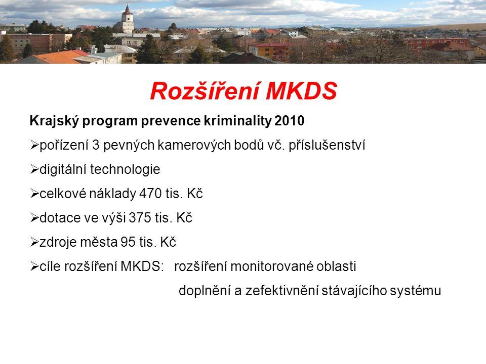 Rozšíření MKDS Krajský program prevence kriminality 2010  pořízení 3 pevných kamerových bodů vč. příslušenství  digitální technologie  celkové nákl