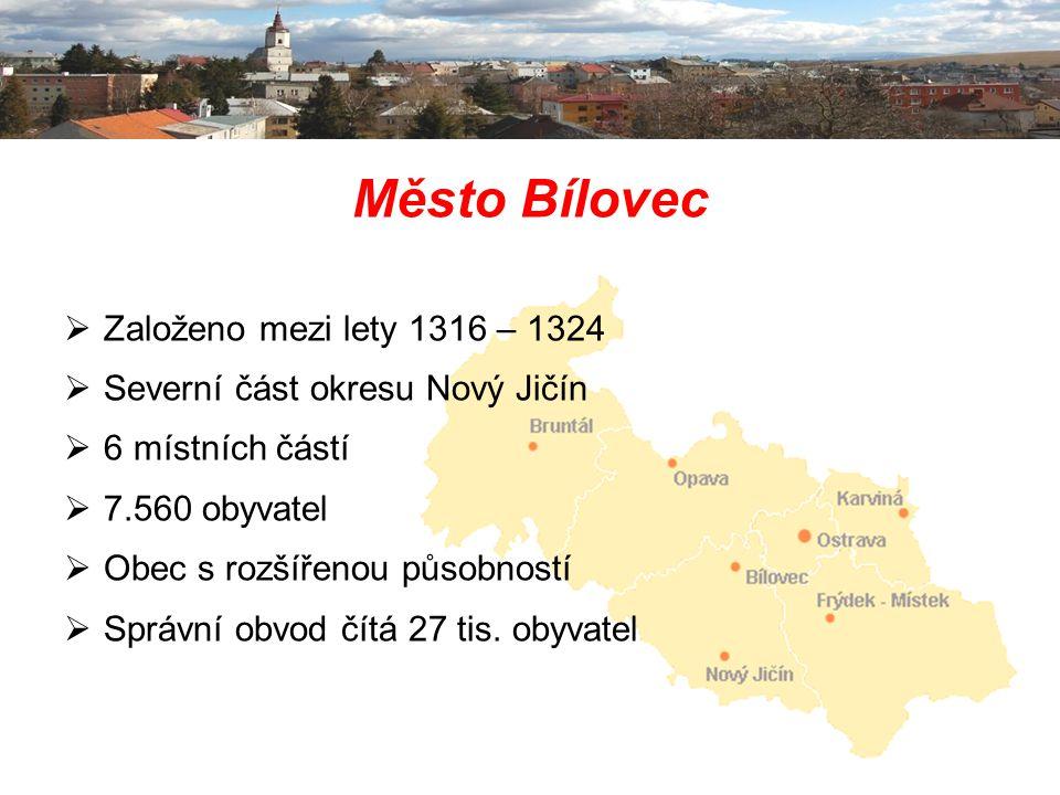 Město Bílovec  Založeno mezi lety 1316 – 1324  Severní část okresu Nový Jičín  6 místních částí  7.560 obyvatel  Obec s rozšířenou působností  S