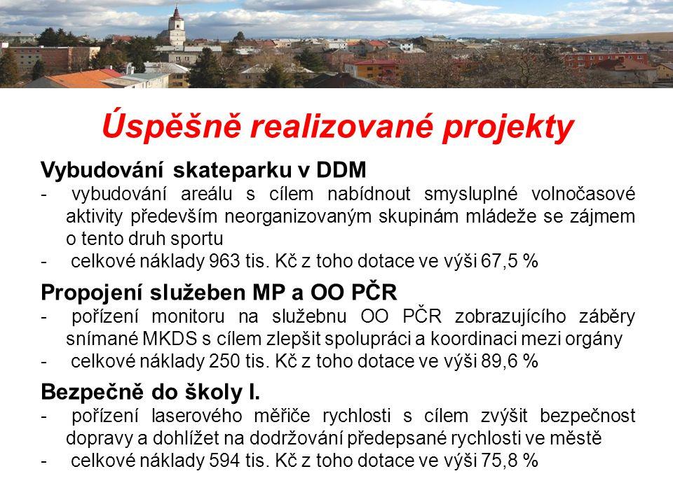 Úspěšně realizované projekty Vybudování skateparku v DDM - vybudování areálu s cílem nabídnout smysluplné volnočasové aktivity především neorganizovan