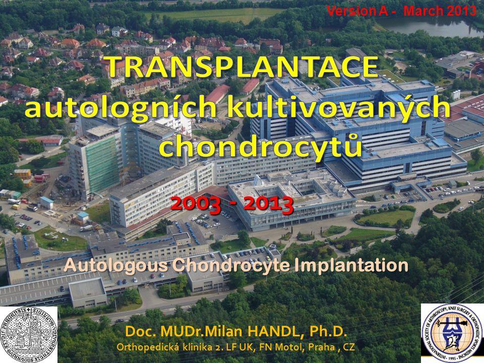 Doc. MUDr.Milan HANDL, Ph.D. Orthopedická klinika 2. LF UK, FN Motol, Praha, CZ 2003 - 2013 Autologous Chondrocyte Implantation Version A - March 2013