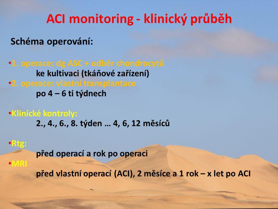 ACI monitoring - klinický průběh Schéma operování: • 1. operace: dg ASC + odběr chondrocytů ke kultivaci (tkáňové zařízení) • 2. operace: vlastní tran