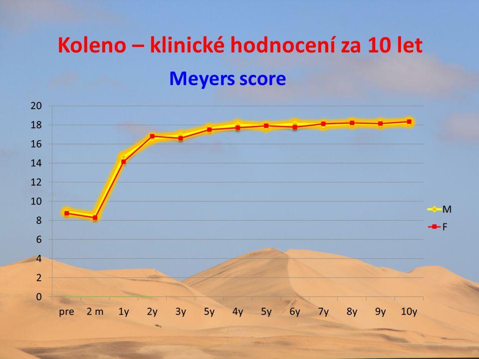Koleno – klinické hodnocení za 10 let Meyers score