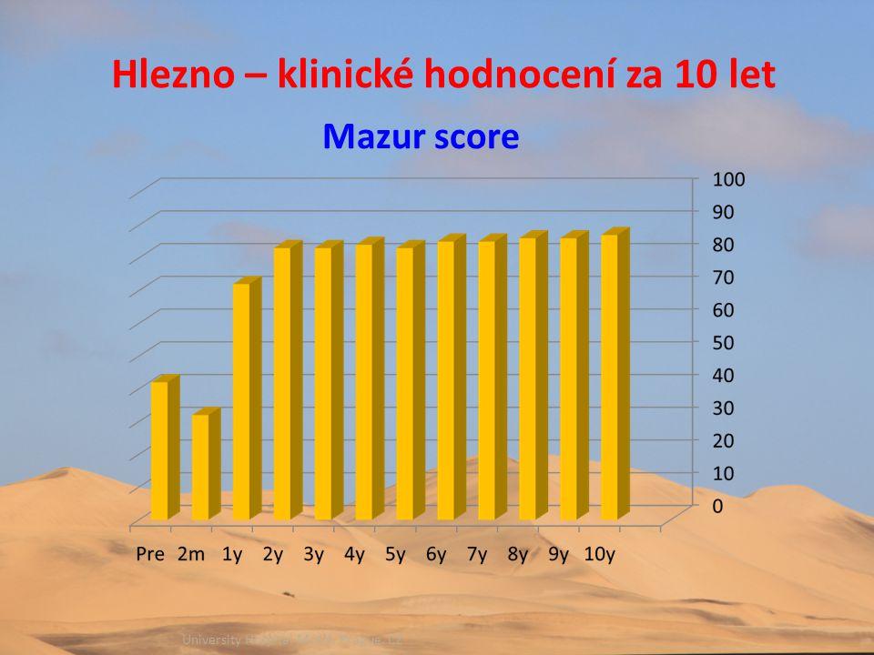 University Hospital Motol, Prague, CZ Hlezno – klinické hodnocení za 10 let Mazur score