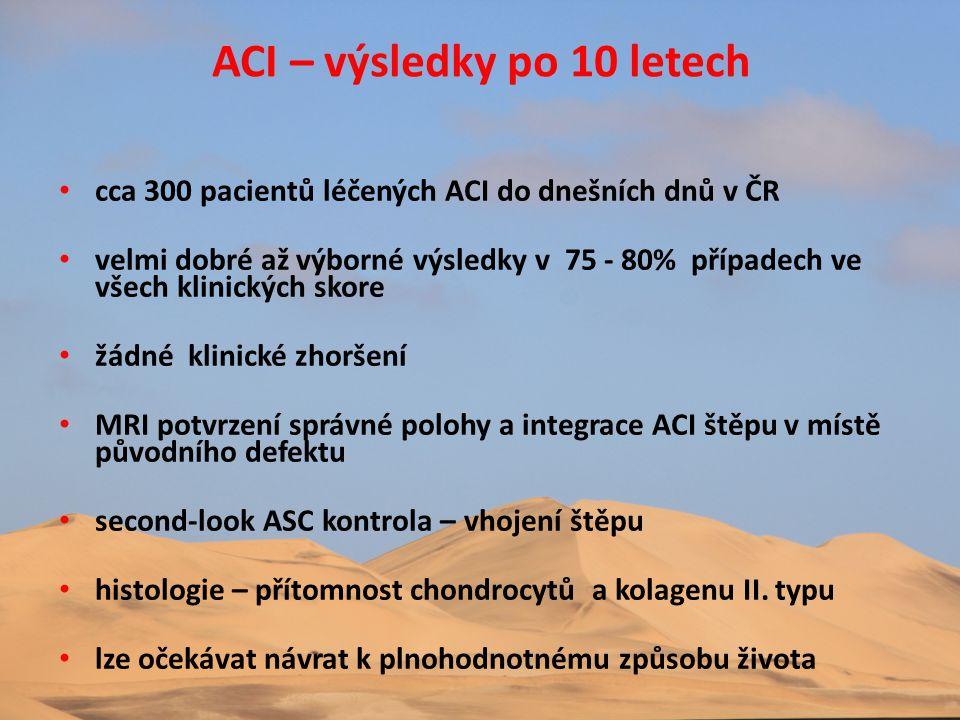 • cca 300 pacientů léčených ACI do dnešních dnů v ČR • velmi dobré až výborné výsledky v 75 - 80% případech ve všech klinických skore • žádné klinické