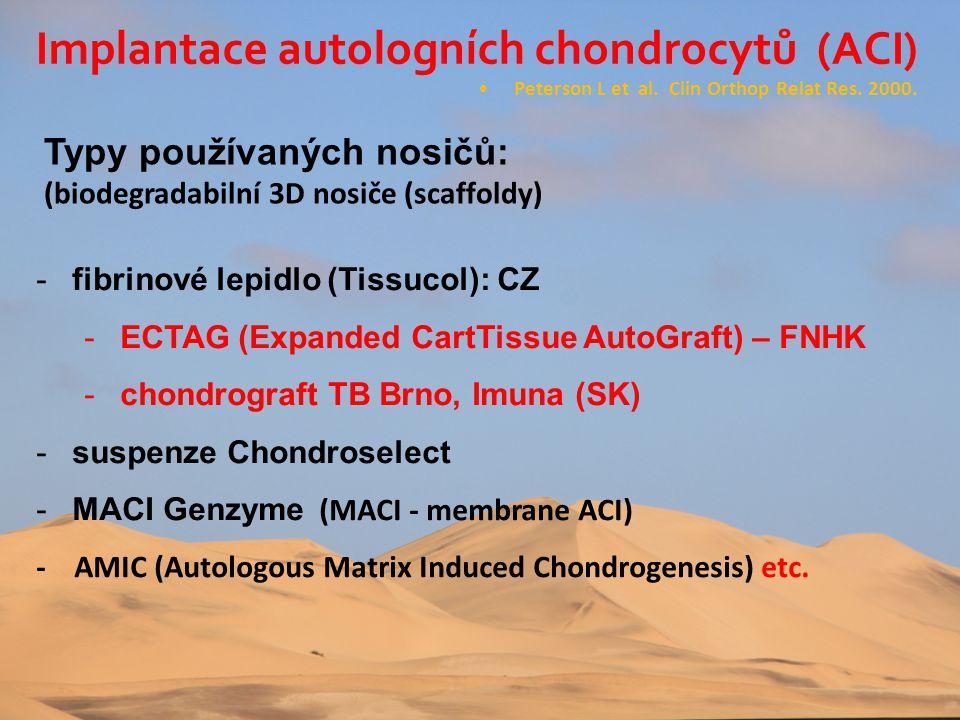 Typy používaných nosičů: (biodegradabilní 3D nosiče (scaffoldy) •Peterson L et al. Clin Orthop Relat Res. 2000. -fibrinové lepidlo (Tissucol): CZ -ECT