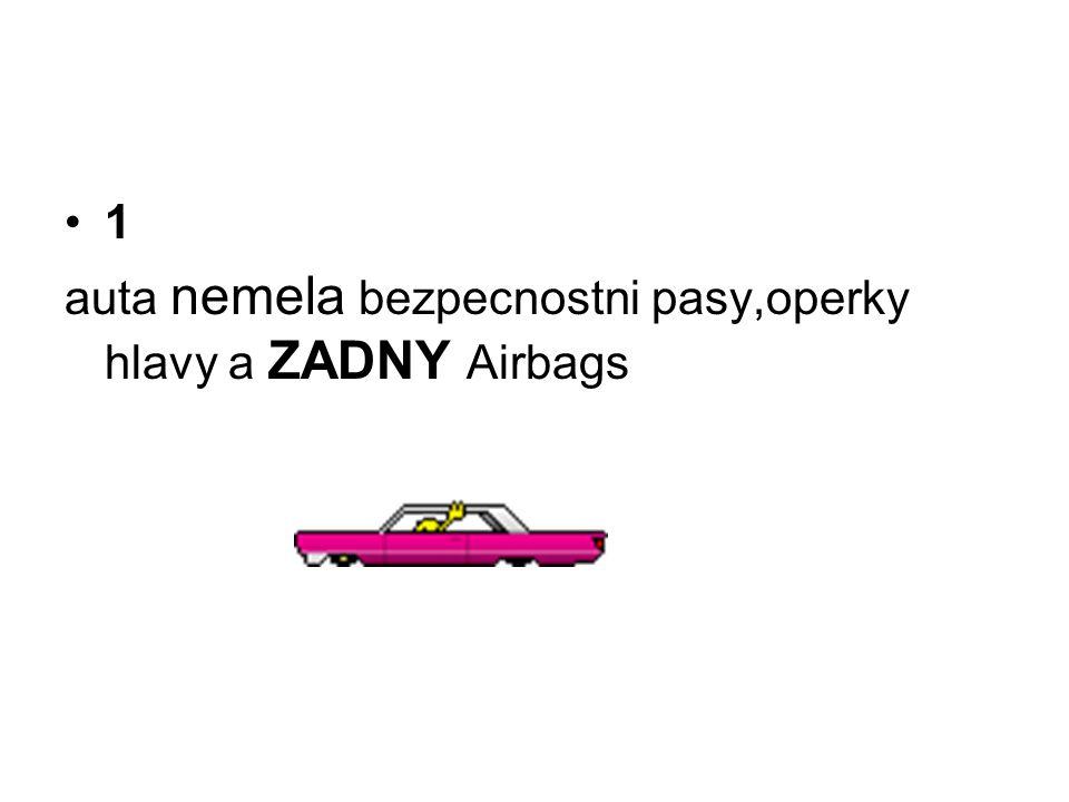 •1 auta nemela bezpecnostni pasy,operky hlavy a ZADNY Airbags