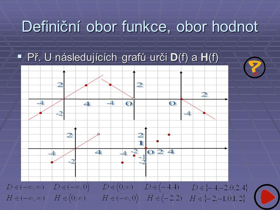 Definiční obor funkce, obor hodnot  Př. U následujících grafů urči D(f) a H(f)