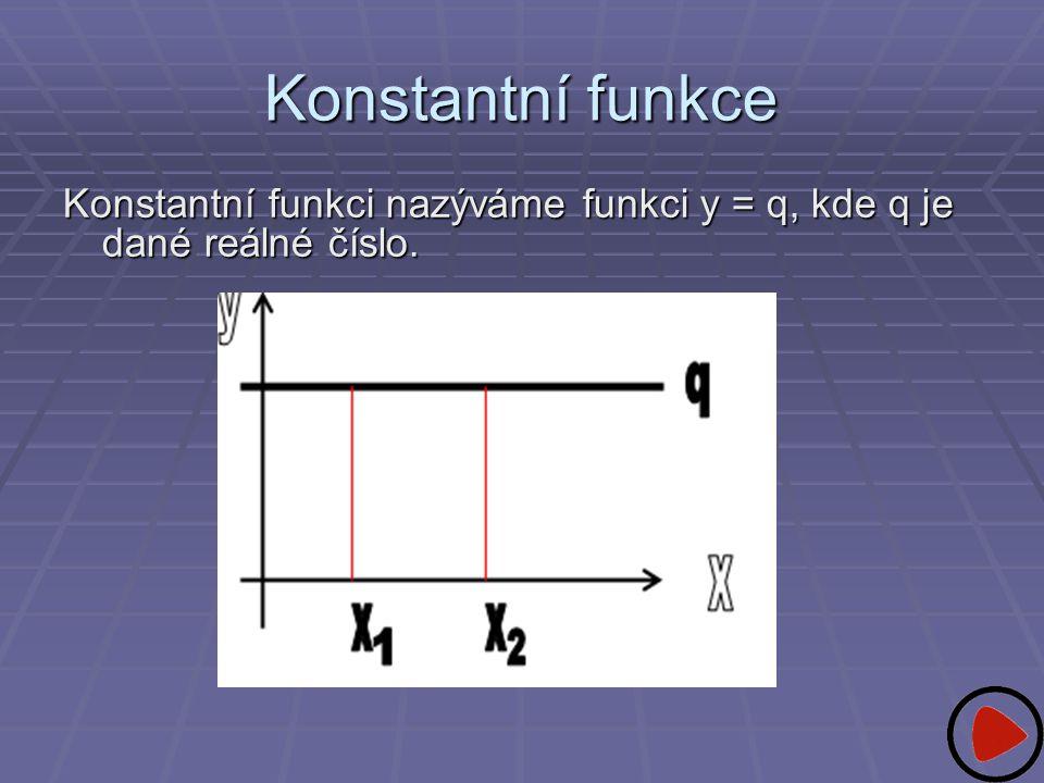 Konstantní funkce Konstantní funkci nazýváme funkci y = q, kde q je dané reálné číslo.