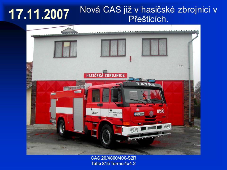 17.1 1.2007 Nová CAS již v hasičské zbrojnici v Přešticích.