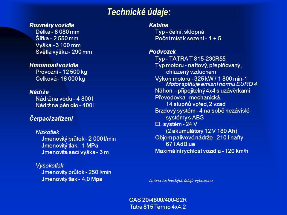 CAS 20/4800/400-S2R Tatra 815 Terrno 4x4.2 Technické údaje: Rozměry vozidla Délka - 8 080 mm Šířka - 2 550 mm Výška - 3 100 mm Světlá výška - 290 mm H