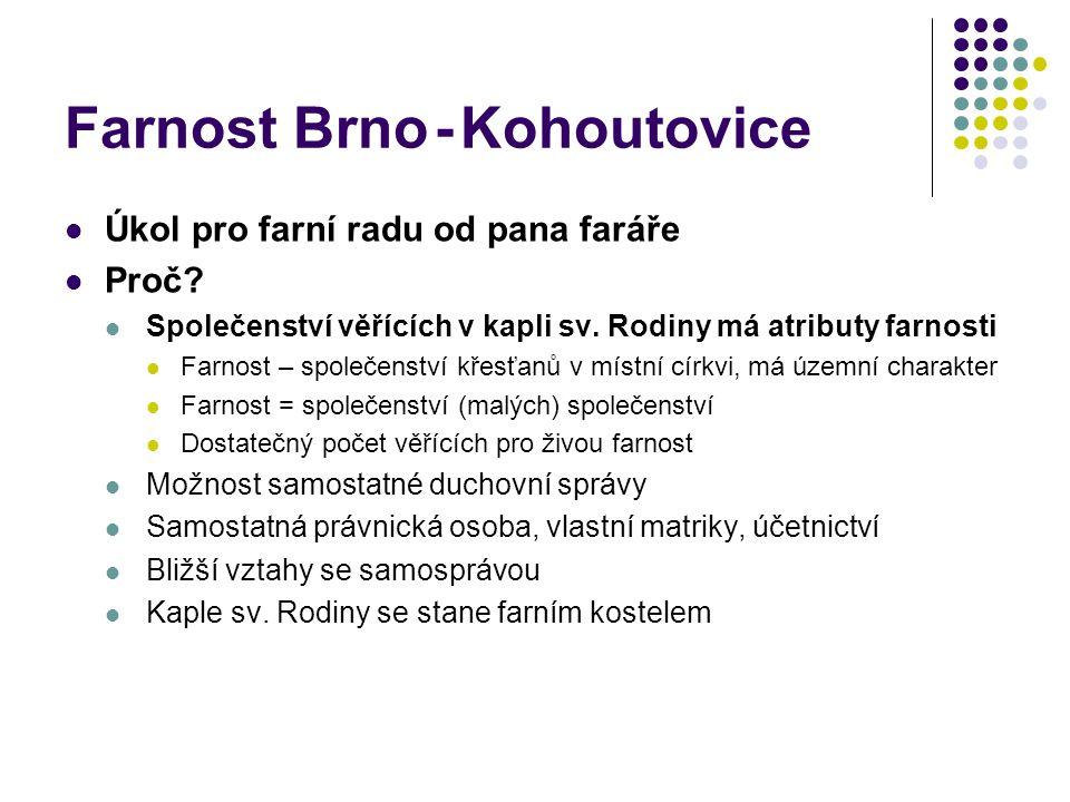 Farnost Brno - Kohoutovice  Úkol pro farní radu od pana faráře  Proč.