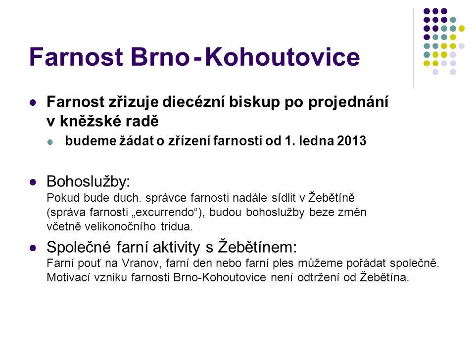 Farnost Brno - Kohoutovice  Farnost zřizuje diecézní biskup po projednání v kněžské radě  budeme žádat o zřízení farnosti od 1.