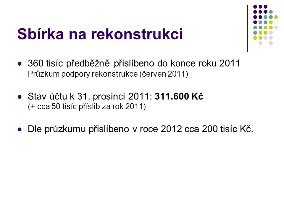 Sbírka na rekonstrukci  360 tisíc předběžně přislíbeno do konce roku 2011 Průzkum podpory rekonstrukce (červen 2011)  Stav účtu k 31.