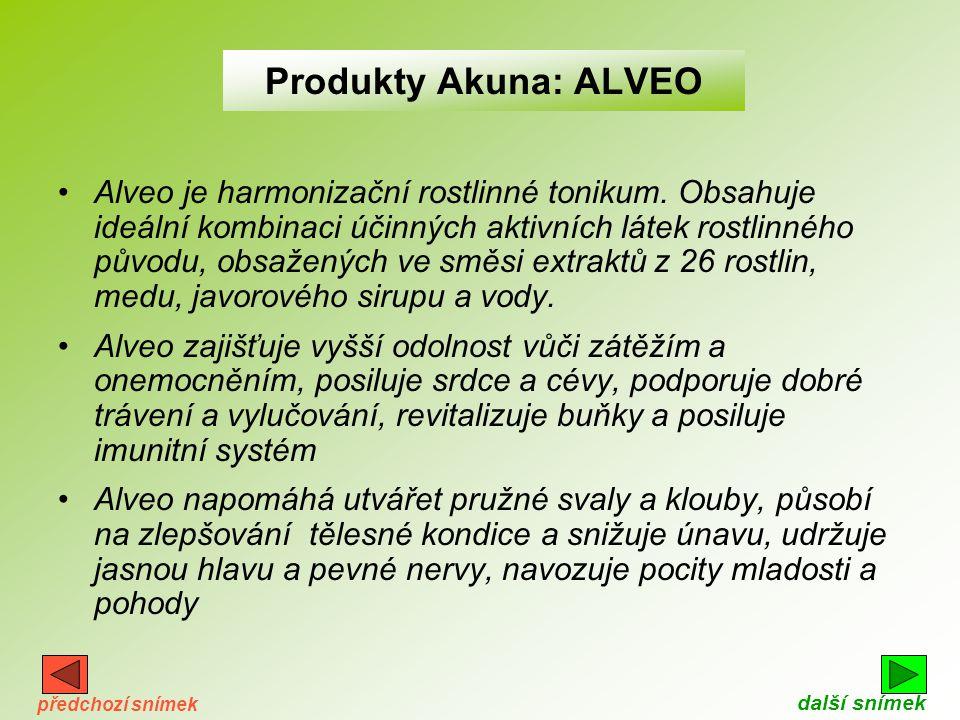 Něco o produktech Akuna •produkty Akuna dodávají organismu potřebné živiny, vitamíny a minerály ve vyváženém poměru a složení. Jejich účinky jsou jak