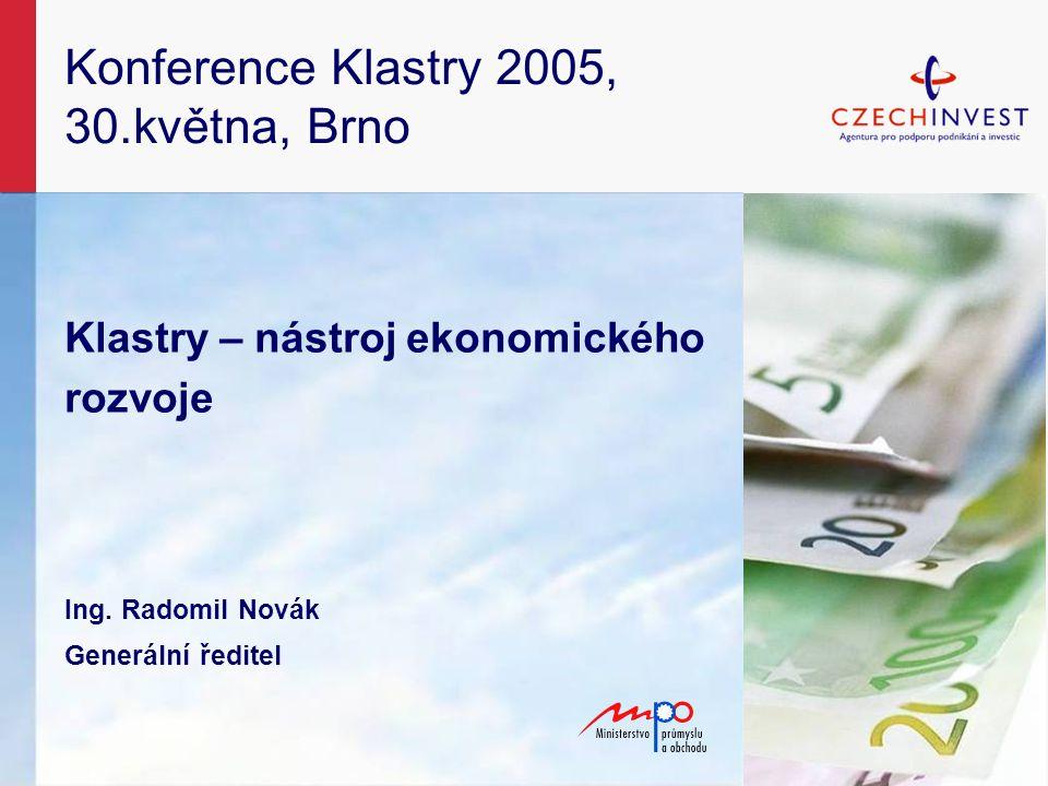 Konference Klastry 2005, 30.května, Brno Klastry – nástroj ekonomického rozvoje Ing.