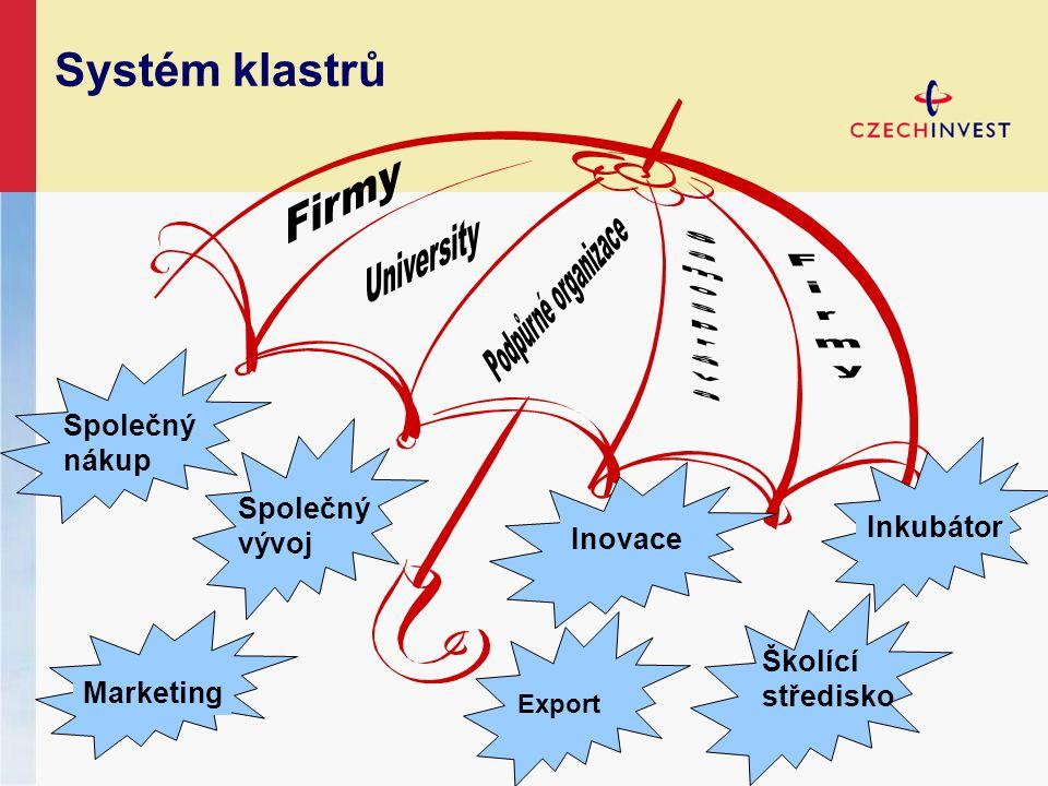 Systém klastrů Společný vývoj Inovace Export Školící středisko Inkubátor Marketing Společný nákup
