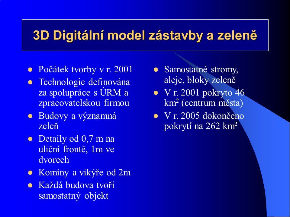 3D Digitální model zástavby a zeleně  Počátek tvorby v r. 2001  Technologie definována za spolupráce s ÚRM a zpracovatelskou firmou  Budovy a význa